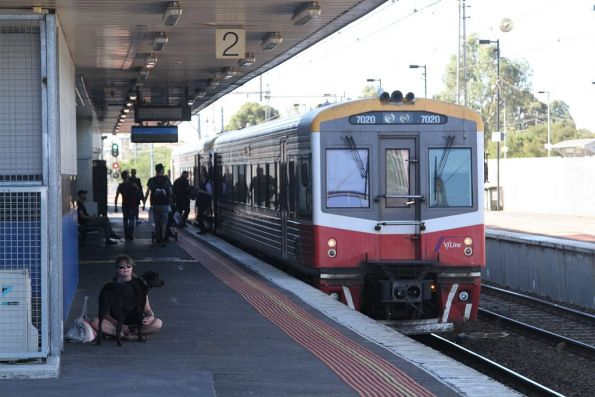 Sprinter 7011 and 7022 pause at Broadmeadows station with a down Seymour service