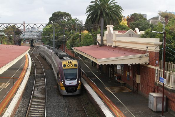 VLocity VL15 leads a down Traralgon service through Hawksburn station