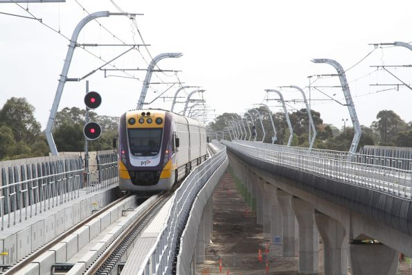 VLocity VL01 on an up Traralgon service on the new elevated tracks at Noble Park