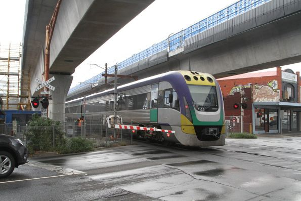 VLocity VL23 trails an up Traralgon service at Murrumbeena
