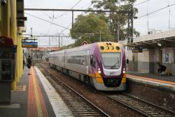 VLocity VL74 arrives into Dandenong station on a down Traralgon service