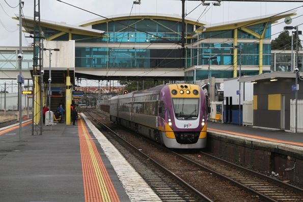 VLocity VL74 departs Dandenong station on a down Traralgon service