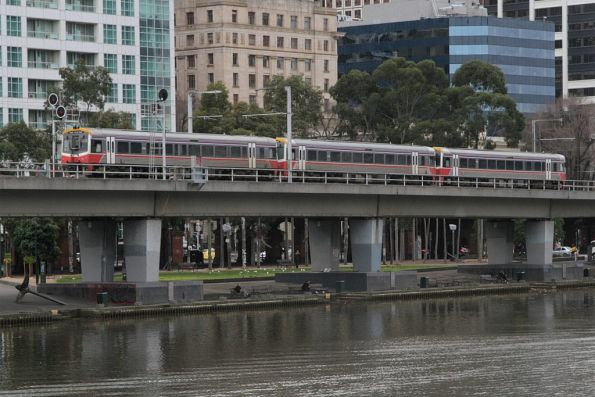 Trio of Sprinters head east over the Flinders Street Viaduct with a down Traralgon service
