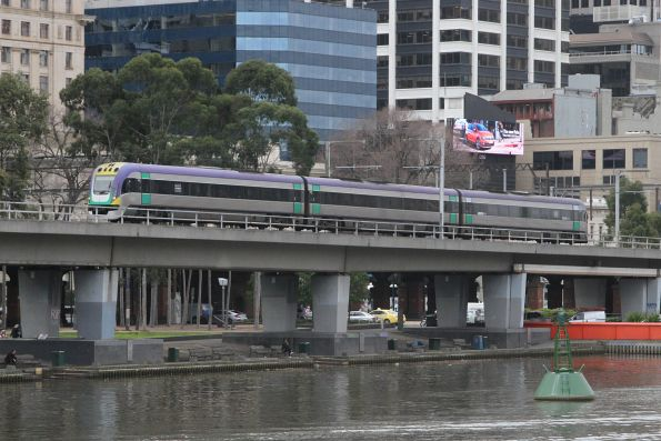 VLocity VL19 heads west over the Flinders Street Viaduct with an up Traralgon service