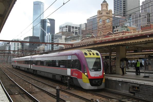 VLocity VL44 arrives into Flinders Street platform 9 with a down Traralgon service