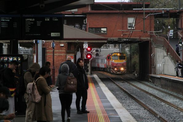 N472 leads an up Seymour service into North Melbourne