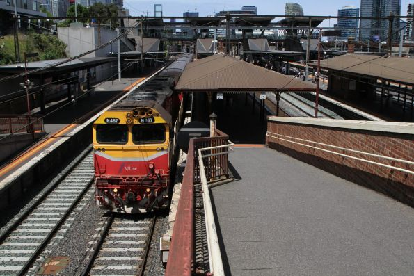 N467 leads a down Shepparton service through North Melbourne