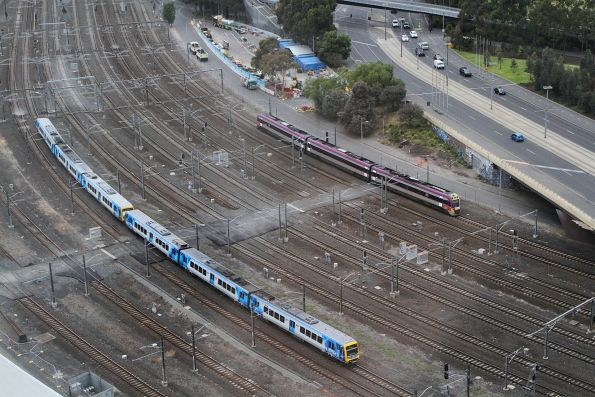 VLocity and X'Trapolis trains head for Flinders Street Station