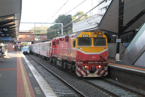N468 leads an up Seymour service into North Melbourne