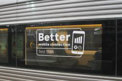 'Better mobile connection test train' decals on VLocity VL55