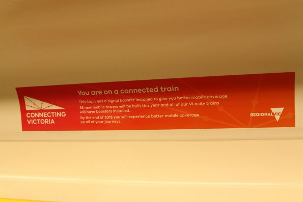 'You are on a connected train' signage onboard a VLocity set with mobile phone retransmitter equipment installed