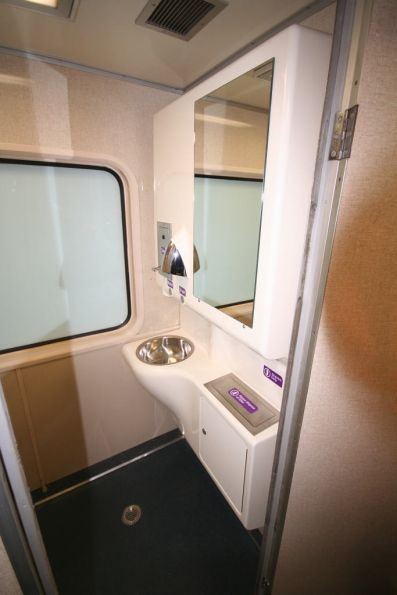 New washbasin onboard a refurbished H set carriage