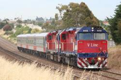 N458 and N451 return from their test run with new liveried VN12 at North Geelong