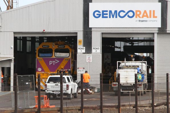 Freshly repainted in PTV livery, N457 being gauge converted in the Gemco shed at South Dynon