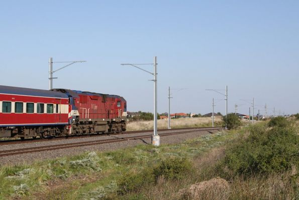 N455 leads a late running up Swan Hill service towards Sydenham