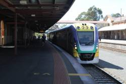 VLocity VL22 awaiting departure time from Bendigo