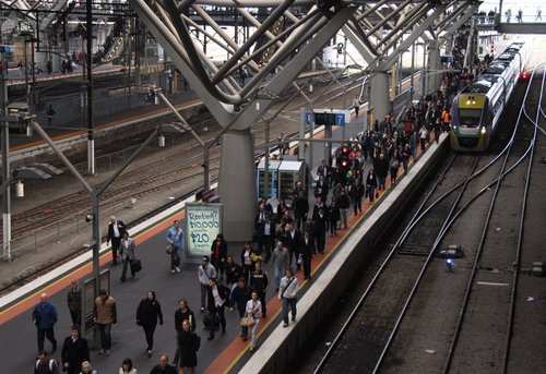An up Geelong train arrives into Southern Cross only 9 minutes late