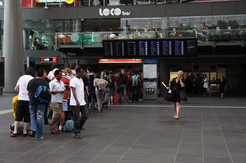 A long wait in the V/Line ticket line at Southern Cross Station