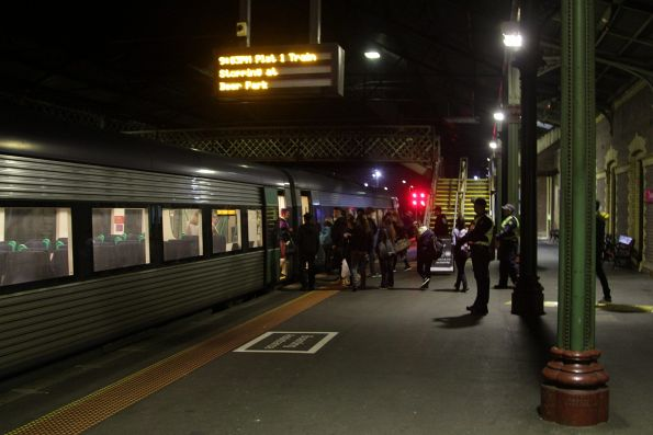 Trainload of passengers booted off an up service at Geelong, so that a second VLocity unit can be attached