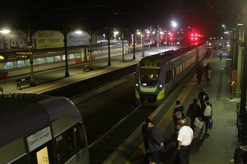 VLocity 3VL22 arrives into the platform at Geelong station, to couple onto classmate 3VL33