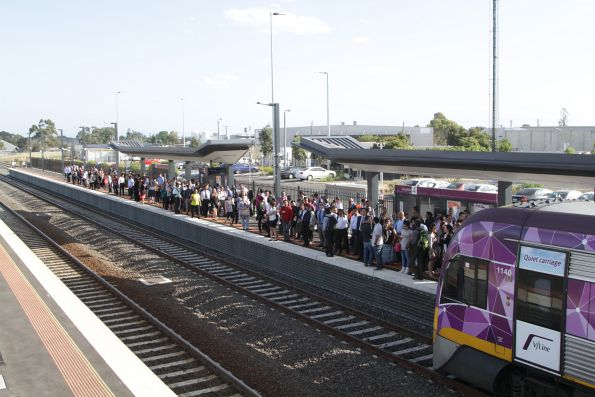 VLocity 3VL40 on a down Bacchus Marsh service departs a platform crowded with abandoned Wyndham Vale passengers at Sunshine