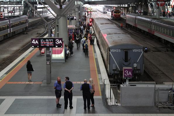 Passengers waiting to board their service to Bacchus Marsh service