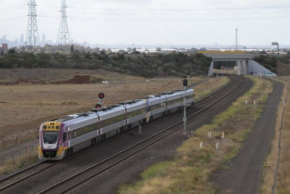 VLocity VL32 and classmate on an up Ballarat service have to slow at Deer Park Junction for an up Geelong service