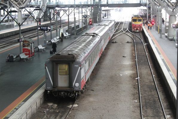 V/Line stabled empty trains in the platform at Southern Cross, forcing passengers to take a long walk