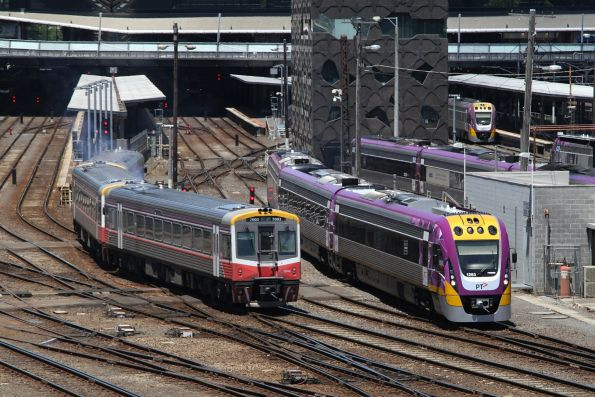 Only two trains moving at Southern Cross, yet V/Line has managed to route them into conflicting platforms!