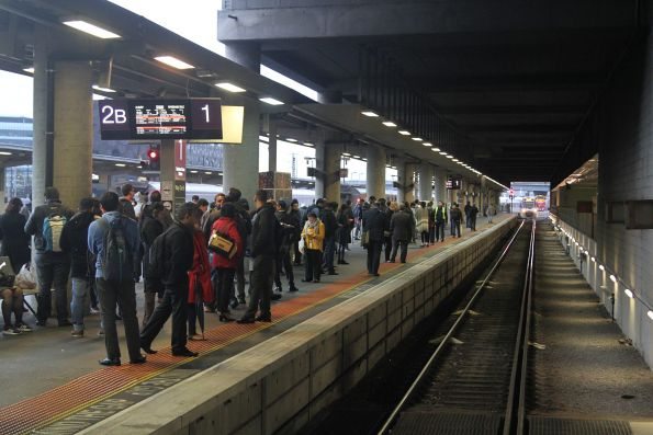 Wyndham Vale passengers wait for their train at Southern Cross platform 1