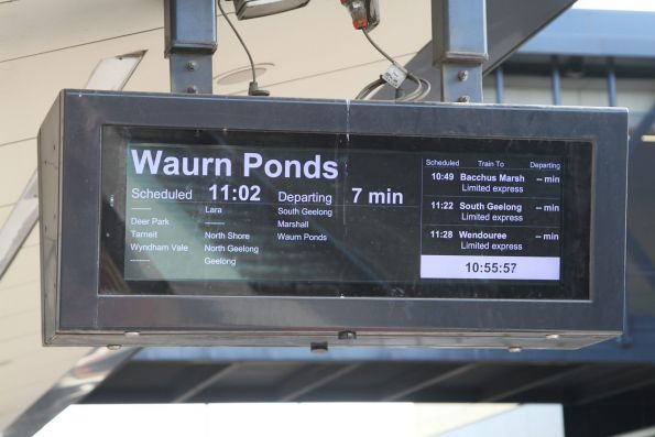 1049 down Bacchus Marsh service has been cancelled, but it is still listed on the next train displays at stations