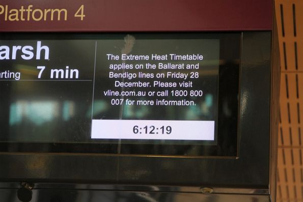 Notice at Sunshine station that the 'Extreme Heat Timetable' applies to the Ballarat and Bendigo lines today