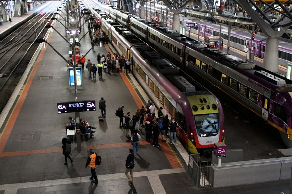 V/Line passengers waiting for boarding time at Southern Cross Station