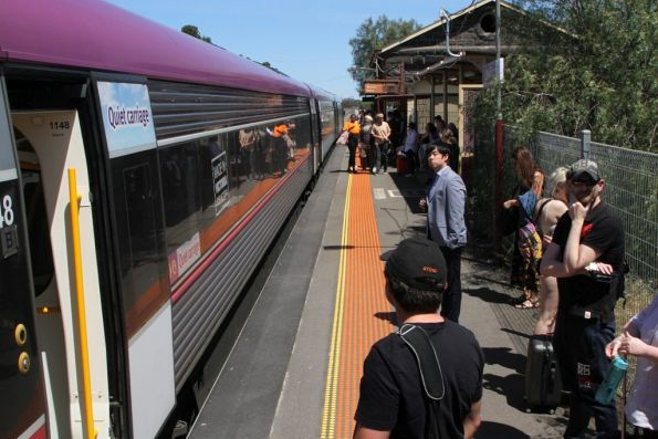 Two trains worth of passengers kicked off their trains at Little River so the trains can be coupled together