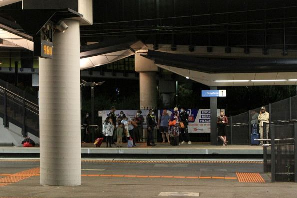 Warrnambool passengers waiting at Sunshine platform 1, having been booted off their V/Line service after signalling issues