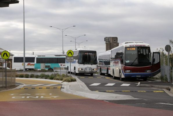 Bus jam in the forecourt at Geelong Station