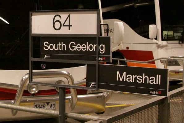 They must have lots of bus replacements to have nice Metlink styled 'South Geelong' and 'Marshall' signs