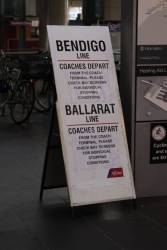 Notice of Bendigo and Ballarat line rail replacement services at Southern Cross Station