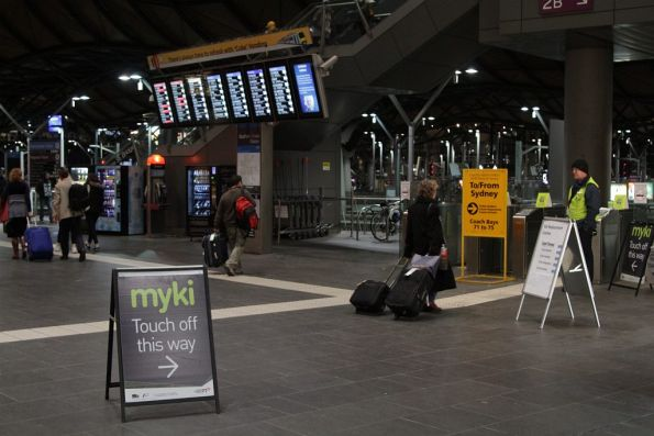 Myki users from replacement coaches arriving at Southern Cross are directed into the station proper to touch off
