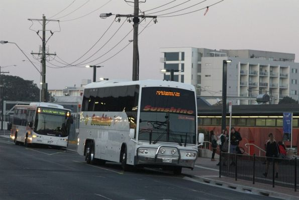 Sunshine Tours coach 8447AO at Footscray station to pick up V/Line passengers