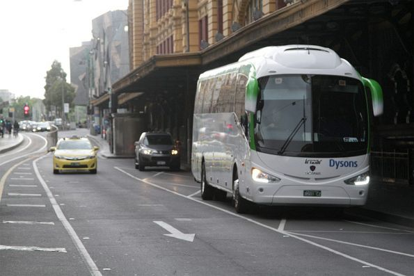 Dysons bus BS01CZ on a V/Line V/Line rail replacement service outside Flinders Street Station