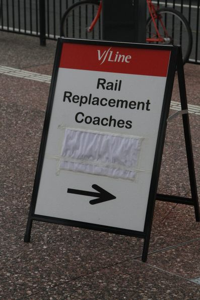 'V/Line Rail Replacement Coaches' sign outside Footscray station