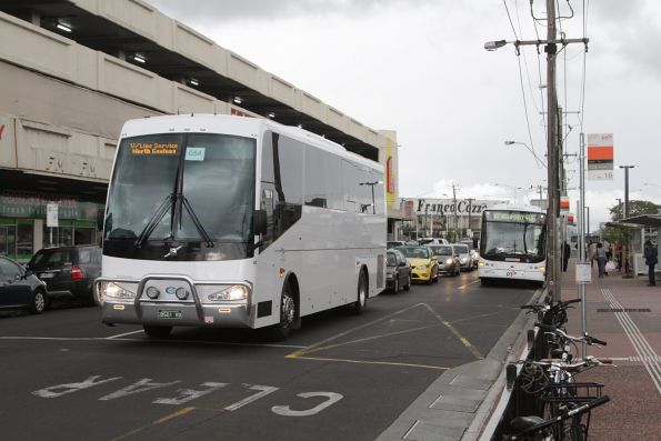 Nuline Charter coach BS01VD on a Geelong line rail replacement service at Footscray station