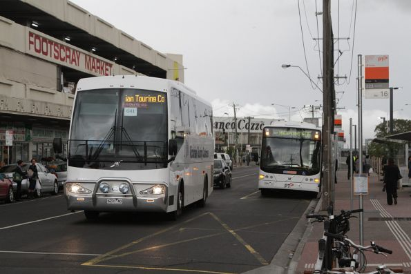 Victorian Touring Coaches 6231AO on a Geelong line rail replacement service at Footscray station