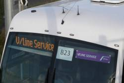 'V/Line Service' signs now appearing in PTV purple