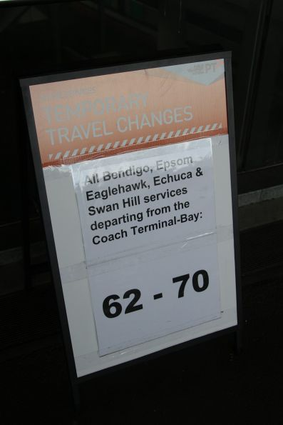 Bendigo line rail replacement bus notice at Southern Cross Station