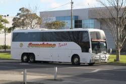 Sunshine Tours coach 8447AO on a V/Line rail replacement service along Dynon Road, West Melbourne