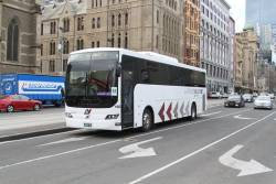 Latrobe Valley Bus Lines #102 BS01MC on a Gippsland line rail replacement service at Flinders and Swanston Street