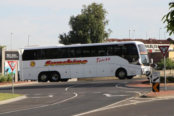 Sunshine Tours road coach arrives at Sunshine station on a V/Line rail replacement service