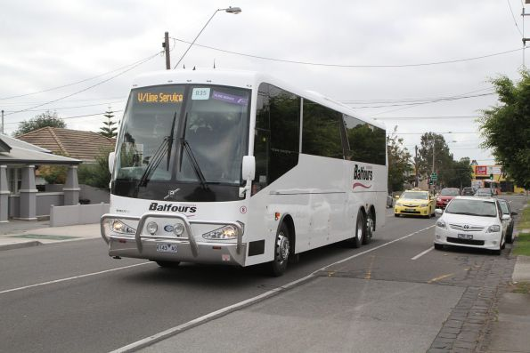 Balfours Mooroopna coach #8 8143AO on a V/Line Ballarat line rail replacement service on Hampshire Road, Sunshine